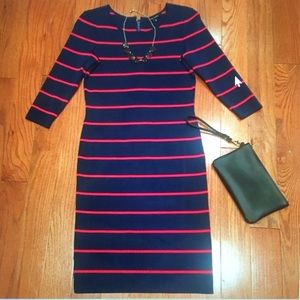 Pink Tartan Navy and Red Striped Dress